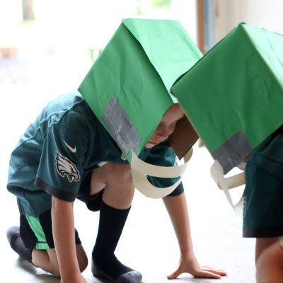 Easy DIY Cardboard Football Helmets For Kids